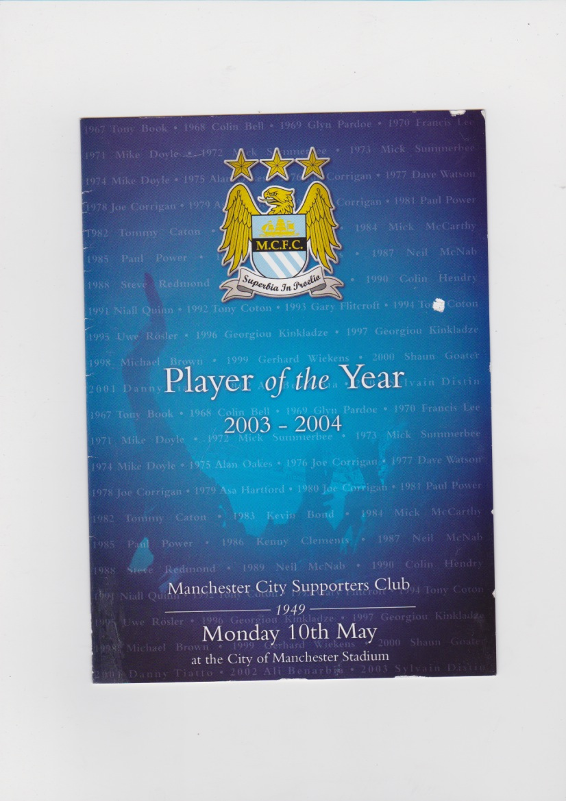 2003/4 Player of Year flyer
